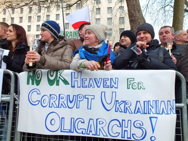 Ukrainians protest and call for assets freeze and sanctions